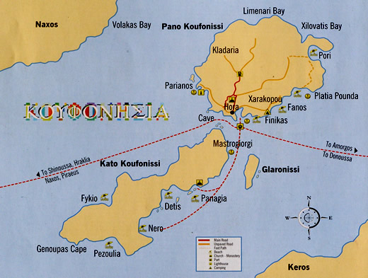 Map of Koufonisia and Keros